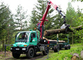 Langholztransport mit Unimog U 500
